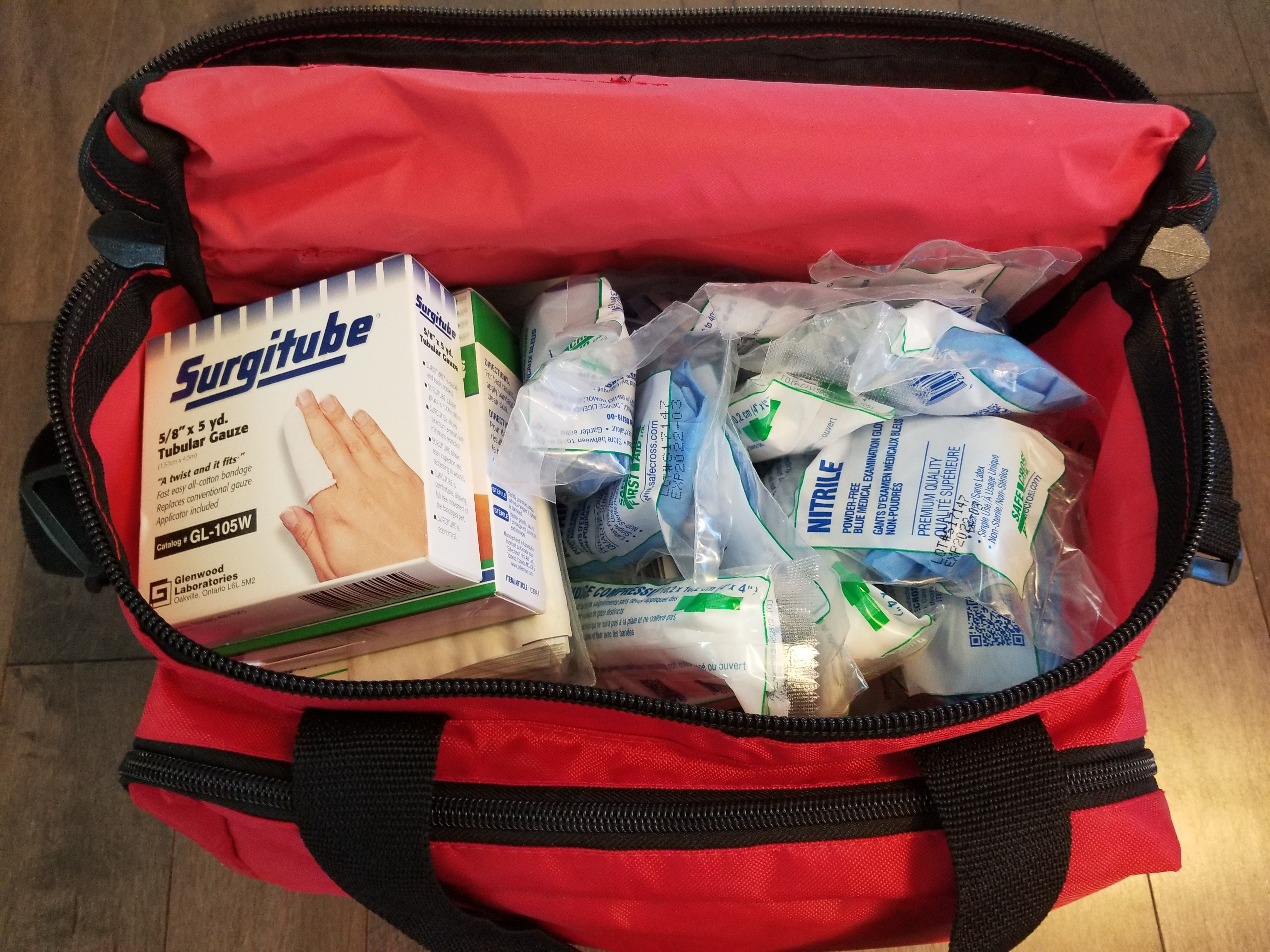 Top Opened large first aid kit