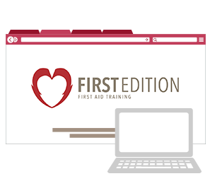 Computer & Logo for Online First Aid Course
